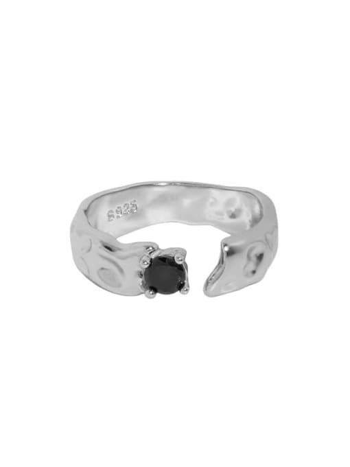 Platinum [14 adjustable] 925 Sterling Silver Cubic Zirconia Irregular Vintage Band Ring